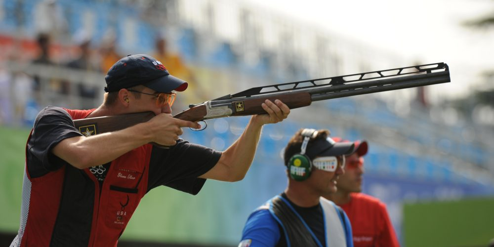 U.S. Army Spc. Walton Glenn Eller III takes his final shot to secure a gold medal with an Olympic record score of 190 in the double trap event at the 2008 Olympic Games in Beijing, China, on Aug. 12, 2008.  Eller is with the U.S. Army Marksmanship Unit.  DoD photo by Tim Hipps, U.S. Army.  (Released)